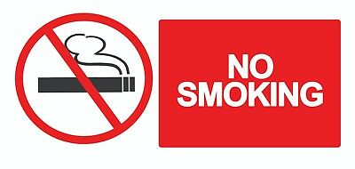 4 x No Smoking- Info Text Sign Self Adhesive Removable Waterproof Vinyl Stickers