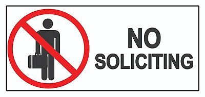 2 x No Soliciting - Info Sign Self Adhesive Removable Waterproof Vinyl Stickers