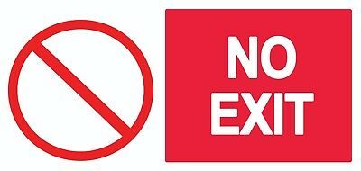 4 x No Exit - Info (1) Sign Self Adhesive Removable Waterproof Vinyl Stickers