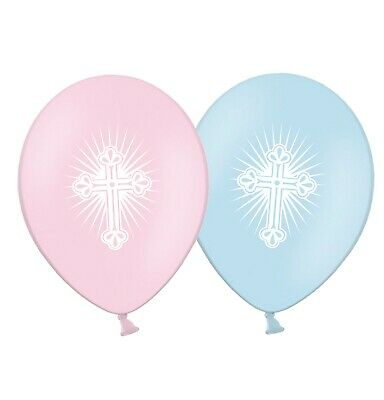 """First Holy Communion Radiant Cross 12"""" Pink & Blue Assorted  Balloons pack of 5"""