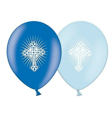 """First Holy Communion Radiant Cross  12""""  Blue Assorted  Balloons pack of 12"""