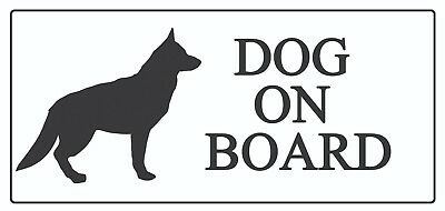 2 x - Dog on Board Silhouette - Car Sign Self Adhesive Waterproof Vinyl Stickers