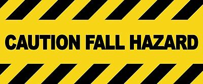 2 x - FALL HAZARD  - CAUTION Sign  Self Adhesive Waterproof Vinyl Stickers