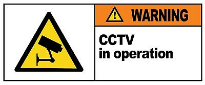 2 x - CCTV IN OPERATION - Warning Sign  Self Adhesive Waterproof Vinyl Stickers