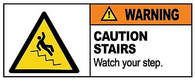 2 x - CAUTION STAIRS  - Warning Sign  Self Adhesive Waterproof Vinyl Stickers