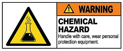 2 x - CHEMICAL HAZARD - Warning Sign  Self Adhesive Waterproof Vinyl Stickers