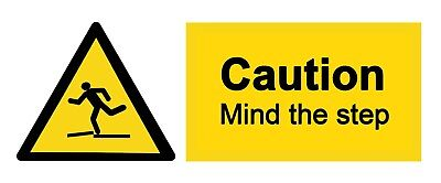 4 x - MIND THE STEP  - CAUTION Sign  Self Adhesive Waterproof Vinyl Stickers