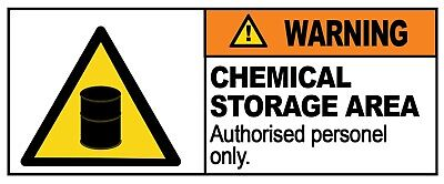4 x - CHEMICAL STORAGE - Warning Sign  Self Adhesive Waterproof Vinyl Stickers