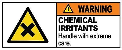 4 x - CHEMICAL IRRITANT - Warning Sign  Self Adhesive Waterproof Vinyl Stickers