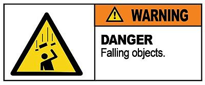 2 x - FALLING OBJECTS - Warning Sign - Self Adhesive Waterproof Vinyl Stickers