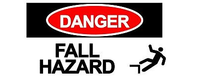 2 x - FALLING HAZARD - Warning Sign - Self Adhesive Waterproof Vinyl Stickers