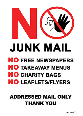 2 x - No Junk Mail - Info Sign Self Adhesive Waterproof Durable Vinyl Stickers