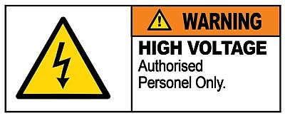 2 x - HIGH VOLTAGE - Warning Sign - Self Adhesive Waterproof Vinyl Stickers