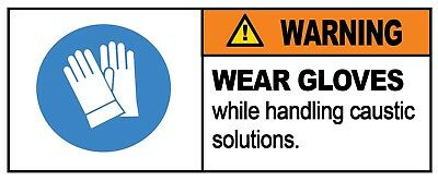 4 x - WEAR GLOVES - Warning Sign - Self Adhesive Waterproof Vinyl Stickers