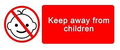 4 x - AWAY FROM KIDS - Warning Sign - Self Adhesive Waterproof Vinyl Stickers
