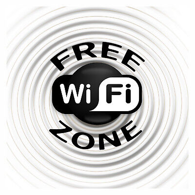 4 x - Free Wi-Fi Zone - Info Sign - Self Adhesive Waterproof Vinyl Stickers