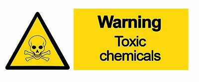 WARNING - TOXIC CHEMICALS - Self Adhesive Labels 100mm x 148mm 4ct