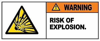 WARNING - RISK OF EXPLOSION - Self Adhesive Labels 100mm x 148mm 4ct