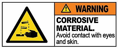 WARNING - CORROSIVE MATERIAL - Removable Self Adhesive Label 100mm x 148mm 4ct