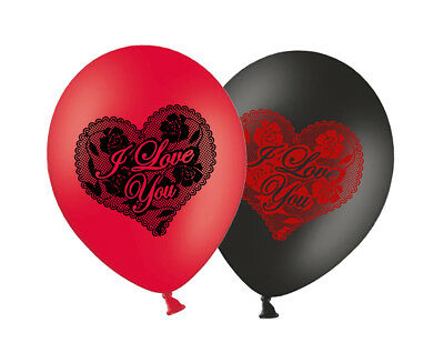"""I Love You Black & Red mix 11"""" Lace Print Latex Balloons 6 ct  - by Party Decor"""