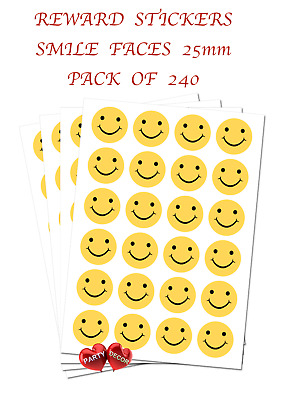 Smile Faces Reward Stickers - Self Adhesive Waterproof Vinyl Labels pack of 240