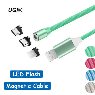 360° Round LED Flash Magnetic Micro USB Type C Charger Cable For iPhone 8 7 6S 5