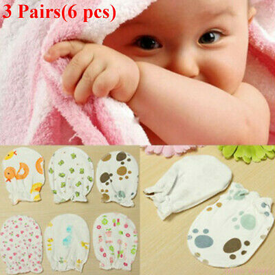 3Pairs Newborn Boy Girl Infant Soft Cotton Handguard Anti Scratch Mittens Gloves