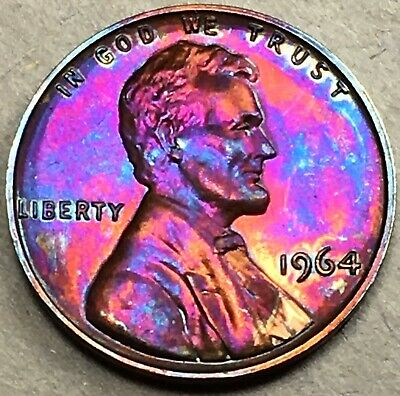 1964 P Vibrant Rainbow Colors!!! High Grade Toned Coin Lincoln Memorial Cent BU