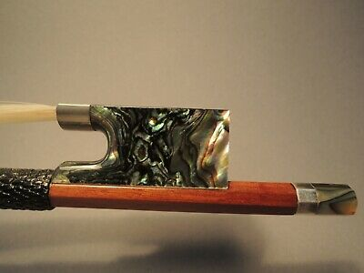 STUNNING violin bow. silver/shell mounted