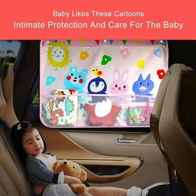 Car Side Window Cartoon Curtain Sun Shade Suction Cup Blind Children Hang Pocket