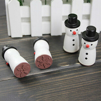 Wooden Snowman Snowflake Stamp XMAS Decor Scrapbooking Card Making Stamper ZF