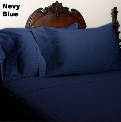 Royal Bedding 1000 Count Egyptian Cotton AU Sizes Navy Blue Striped Select Item