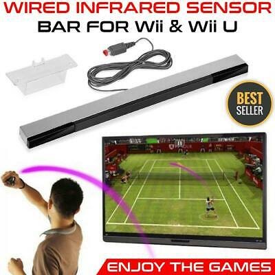 Sensor bar for Nintendo Wii U And Wii wired Infrared motion inc Stand White