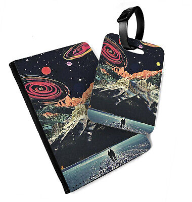 Retro Space | Printed Passport Cover & Luggage Tag - Moon Planet Travel Rocket