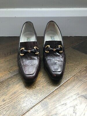 Vintage Laura Ashley Brown Leather Shoes With Buckles Size 36 ( Uk 3)