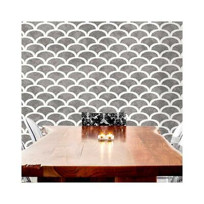 ART DECO SCALLOP 1920s Fish Scales - Furniture Wall Floor Stencil for Painting