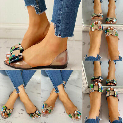 Womens Beach Flat Jelly Sandals Ladies Summer Bow Diamante Clear Shoes Open Toe
