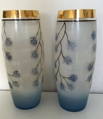 Pre-War  Pair  Frosted Art  Glass Vases  Pale Blue Gold Rims 'Made In Roumania'