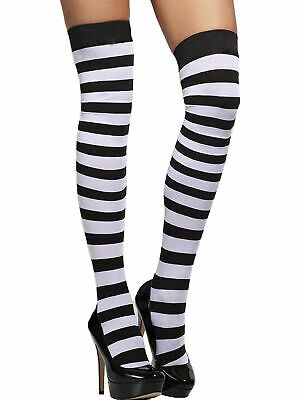 Classic Striped Nylon Stocking Thigh Highs Hosiery- Fits up to 170lbs