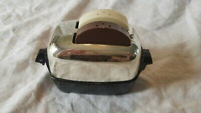 Vtg Mirrored Metal & Black Plastic Toaster w/ Brown-White Plastic S & P Shakers