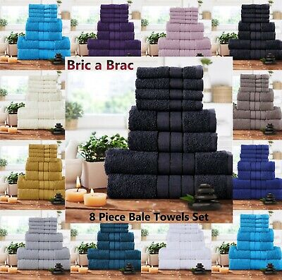 Luxury 8 Piece Towel Bale Set 100% Pure Egyptian Cotton Face, Hand, Bath Towels