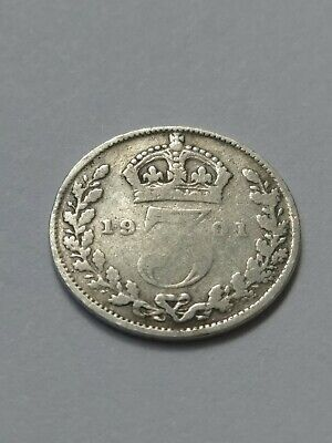 Queen Victoria Solid Silver Three pence (3D) Coin (.925) Silver