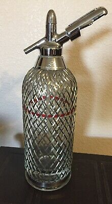 Vintage Seltzer Bottle Soda Siphon Wire Mesh Antique Glass Soda Water