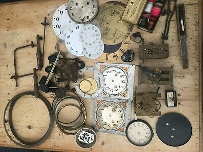 ** Large Lot Of Antique Clock Parts Tools Movements Dials Bezels **
