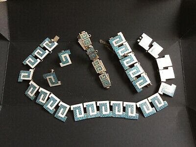 Antique Colombian Silver Necklace Set With A Greek Key Pattern.