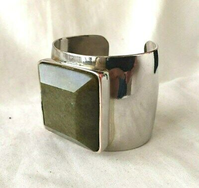 Vintage CUFF Bracelet SILVER Plate on COPPER with Large AVENTURINE Quartz STONE