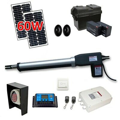 ALEKO Full Kit and Solar Powered Gate Opener For Single Swing Gates Up To 660-lb