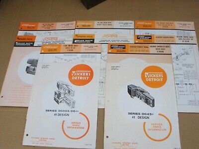 10 Vickers Sperry Rand Service Parts Information Leaflets