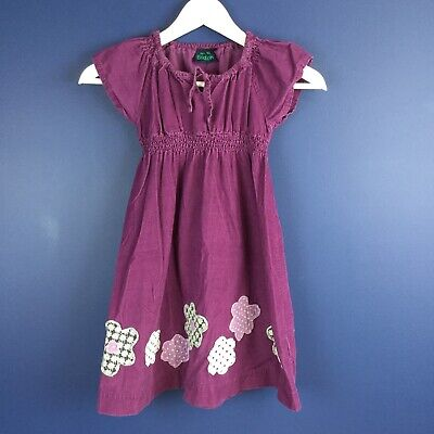 Mini Boden Girl's Corduroy Dress with Flower Patches Appliques Purple Size 5/6