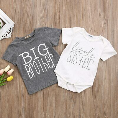 Big Brother Little Sister Kid Boys Baby Girls Cotton Tops T-shirt/Romper